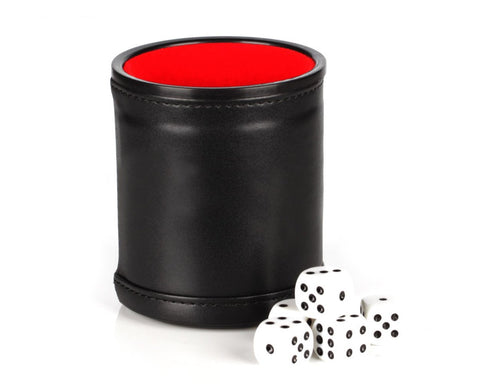 Leather Dice Cup with 5 Pieces Dot  Dices