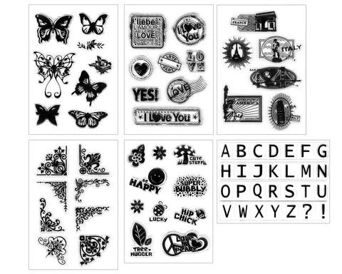Clear Stamps 6 Sheets Silicone Cling Stamps for Acrylic Stamp Block