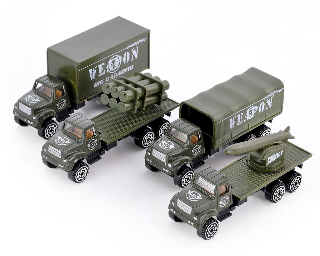 Set of 4 1:64 Military Vehicles Alloy Toy Car Model
