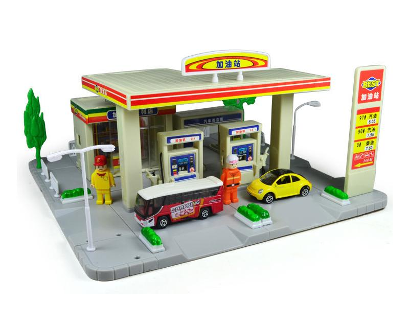 Gas Station Toy Play Set with Toy Cars and People