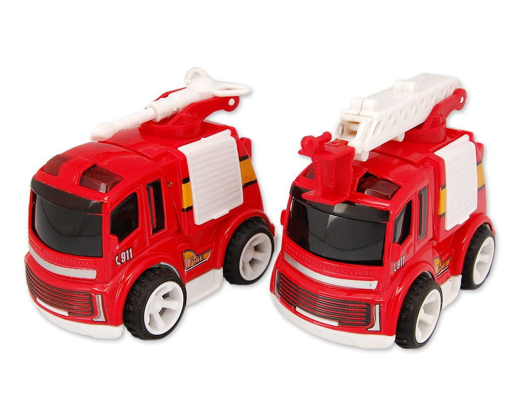 2 Pcs Cute Fire Engine Alloy Toy Car Model