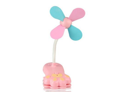 Paw Clip-On USB Rechargeable Cooling Mini Baby Stroller Fan - Pink