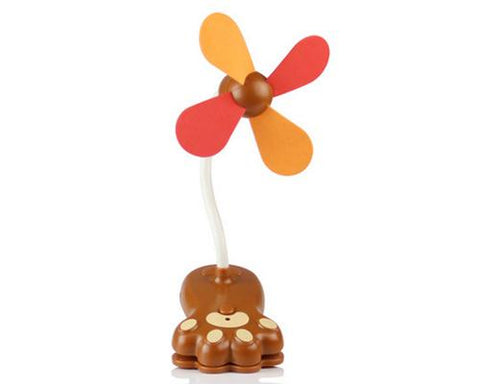 Paw Clip-On USB Rechargeable Cooling Mini Baby Stroller Fan - Brown