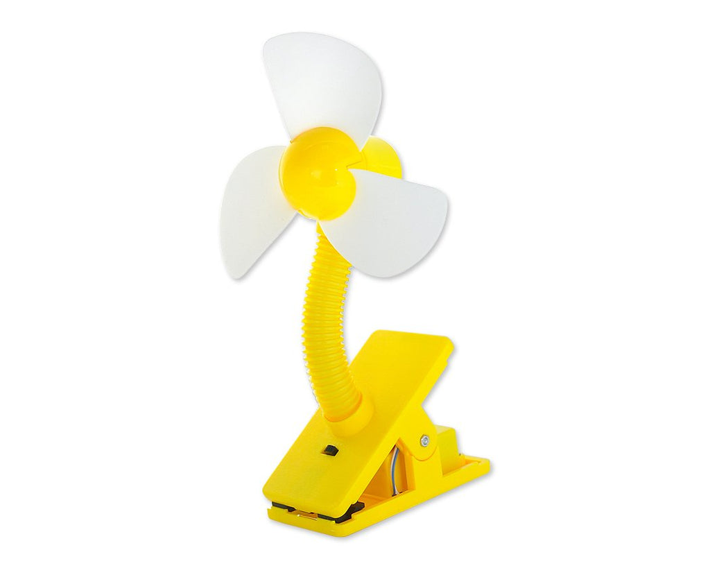Clip-On USB Rechargeable Cooling Mini Baby Stroller Fan - Yellow