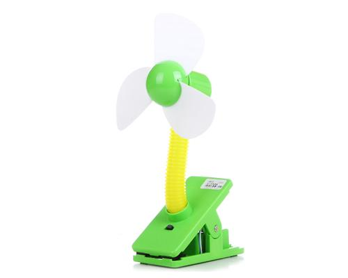Clip-On USB Rechargeable Cooling Mini Baby Stroller Fan - Green
