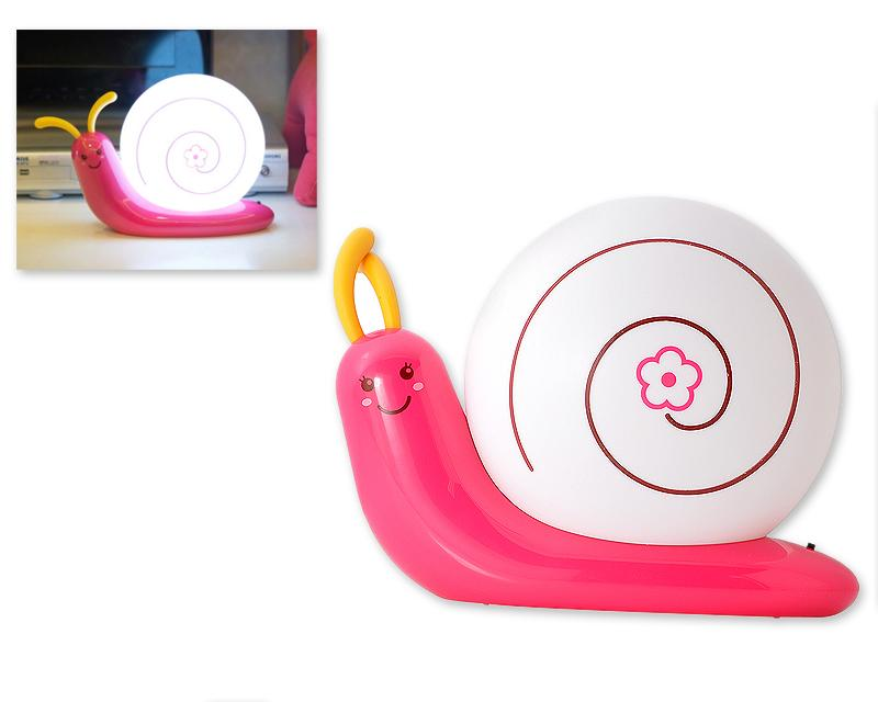 USB Rechargeable LED Bedroom Nursery Night Light Lamp-Magenta Snail