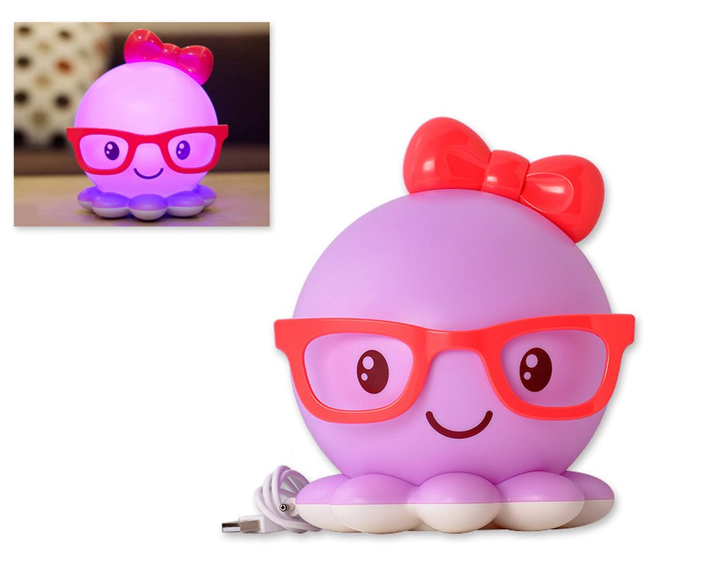 Cute Octopus USB Charging LED Night Light for Children - Purple