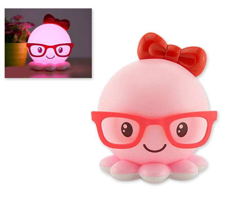 Cute Octopus USB Charging LED Night Light for Children - Pink