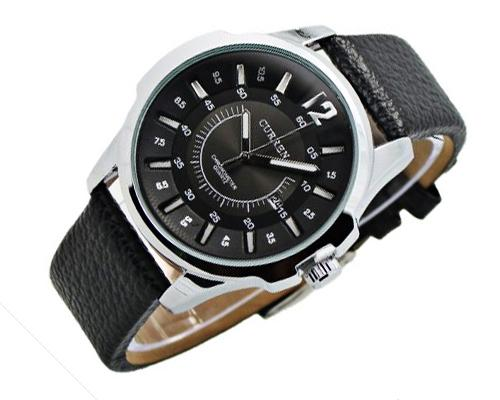 CURREN Fashion Analog Date Brown PU Leather Men Wrist Watch