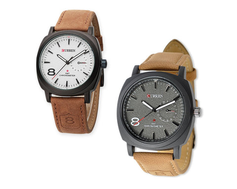 CURREN Fashion Analog Brown PU Leather Men Wrist Watch