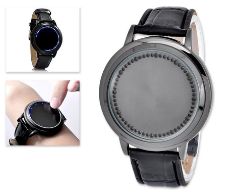 Unisex Cool LED Touch Screen PU Leather Wrist Watch