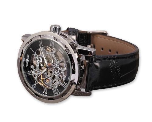 Men's PU Leather Skeleton Mechanical Sport Army Wrist Watch