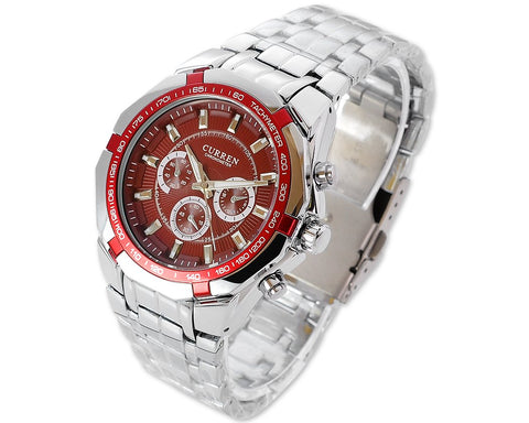 CURREN Dodecagon Stainless Steel Quartz Men's Wrist Watch