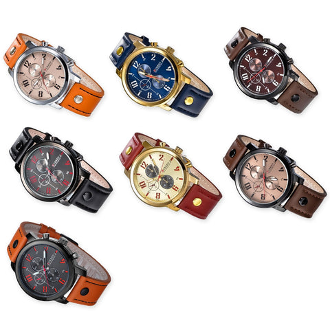 CURREN Army Numerals Round Dial Men Watch with Leather Band