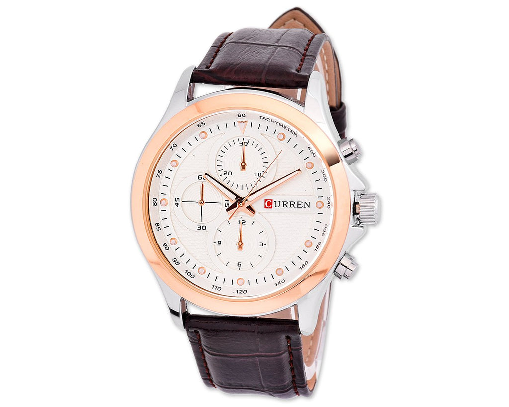 CURREN Captain Leather Band Quartz Men's Casual Wrist Watch
