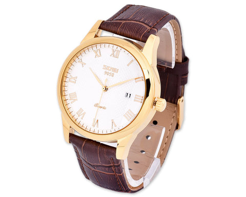 SKMEI Date Display Leather Watches for Men 9058