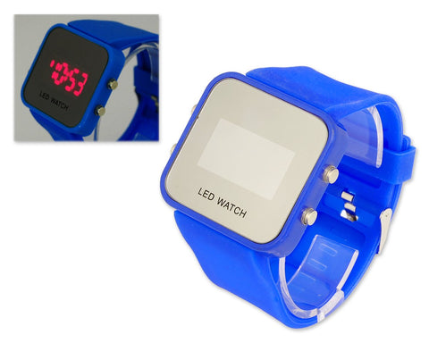 Unisex Silicone Band Mirror Dial LED Digital Sport Wrist Watch