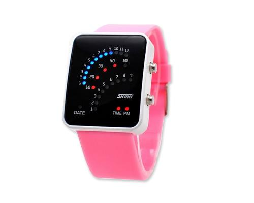 Skmei Casual Binary Digital LED Unisex Sport PU Wrist Watch 0890