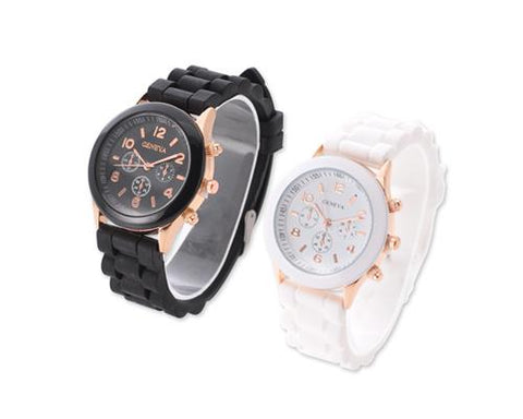 2 Pcs Geneva Silicone Quartz Analog Unisex Sport Wrist Watch