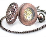 Retro Dial Hand Wind Mechanical Pocket Watch with Chain