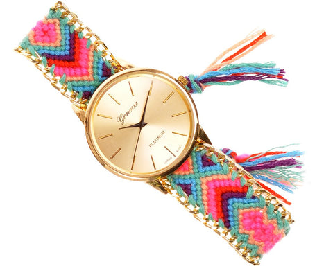 Women Ethnic Knitted Weaved Band Bracelet Quartz Dial Wrist Watch