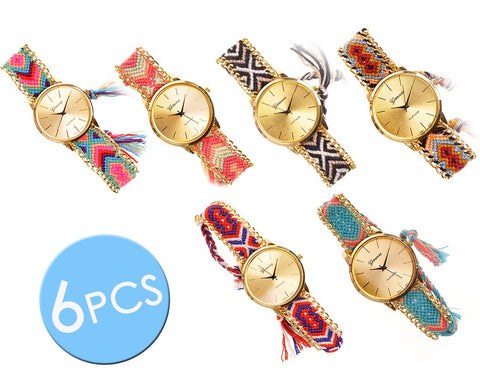 6 Pcs Women Ethnic Knitted Weaved Bracelet Quartz Dial Wrist Watch Set