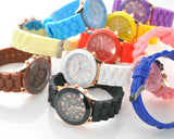 10 Pcs Geneva Colorful Silicone Quartz Analog Unisex Sport Wrist Watch