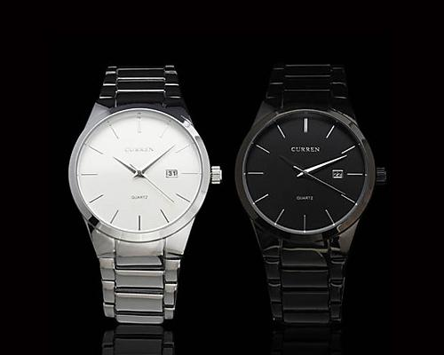 2Pcs CURREN Metallic Stainless Steel Date Round Dial Men Watch - B + W