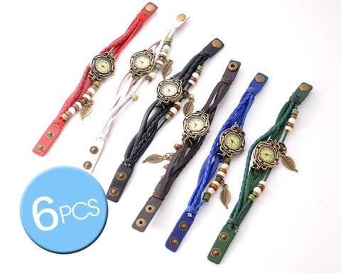 6 Pcs Retro Leaf Women Weave Wrap Leather Bracelet Wrist Watches