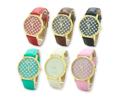 6 Pcs Geneva Women Candy Color Polka Dots  Leather Alloy Wrist Watch