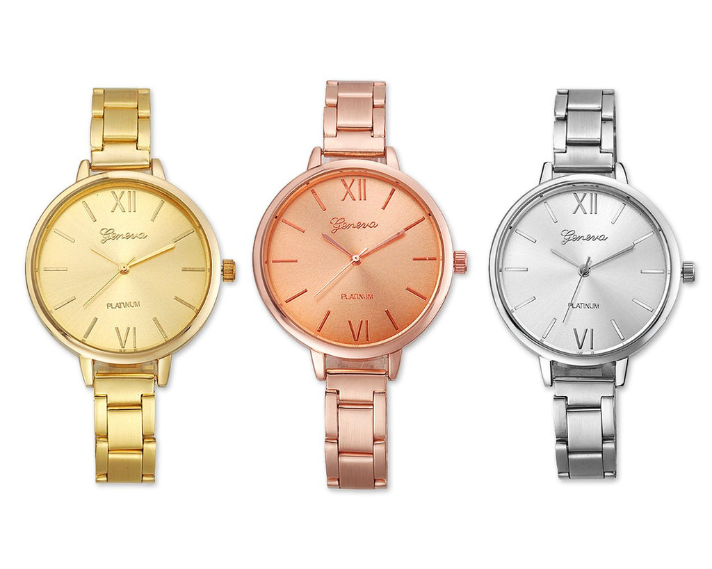 3 Pcs Geneva Women Round Quartz Analog Watch with Thin Alloy Band