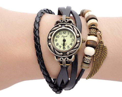 Retro Women Angel Wing Leather Bracelet Watch