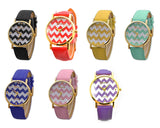 Geneva Women Chevron Style Leather Wrist Watch