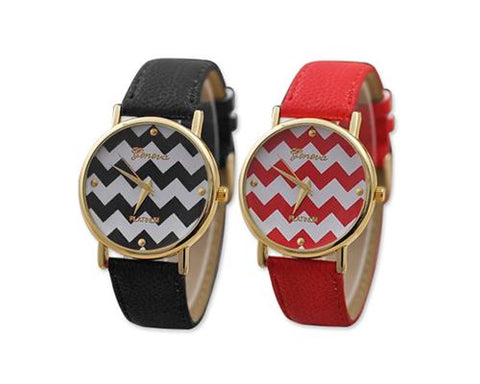 2Pcs Geneva Women Ladies Chevron Style Leather Wrist Watch