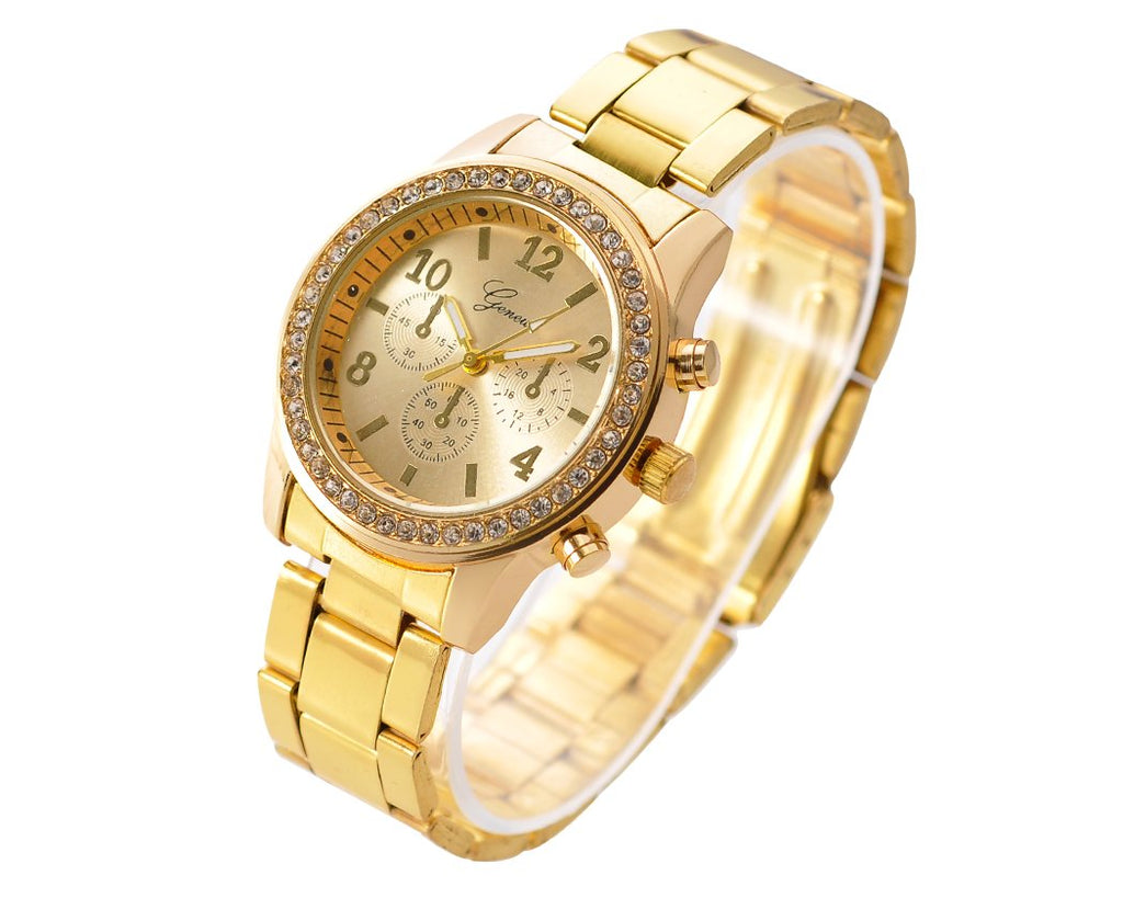 Geneva Women Classic Round CZ Quartz Alloy Band Watch