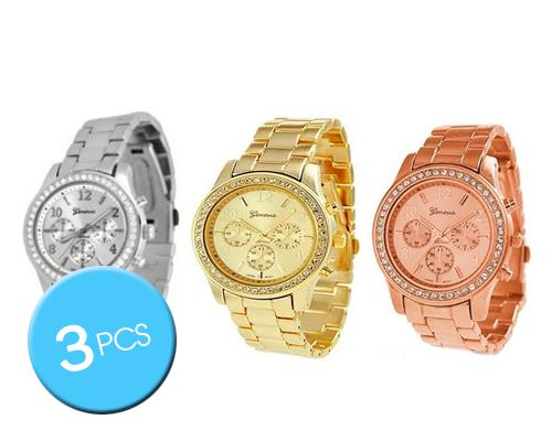 3 Pcs Geneva Women Classic Round CZ Quartz Analog Alloy Band Watch