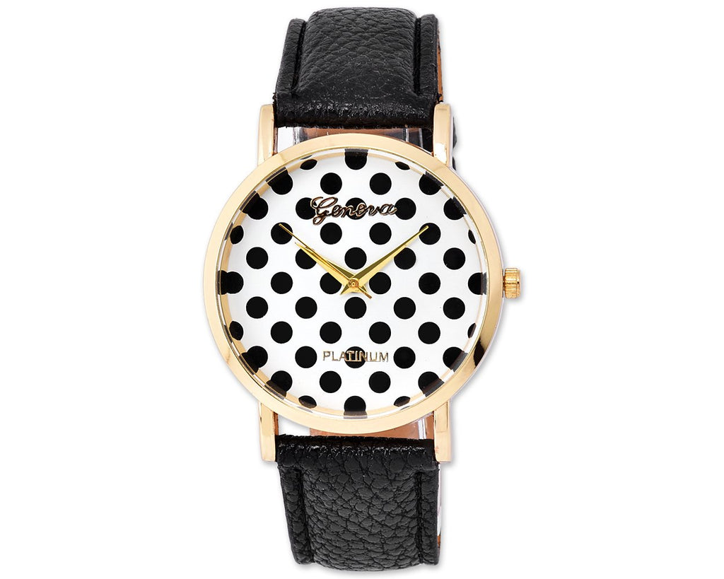 Geneva Women Candy Color Polka Dots Leather Alloy Wrist Watch