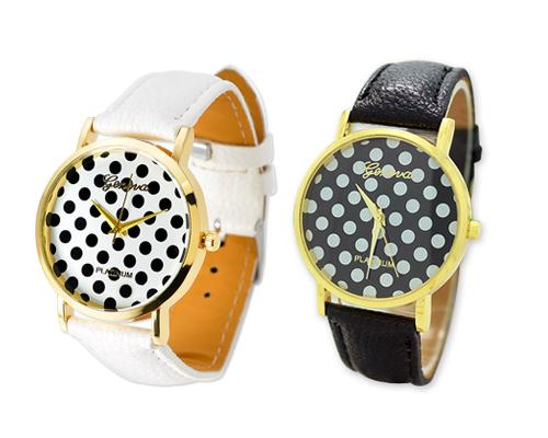 Geneva Women Candy Color Dots Leather Alloy Wrist Watch