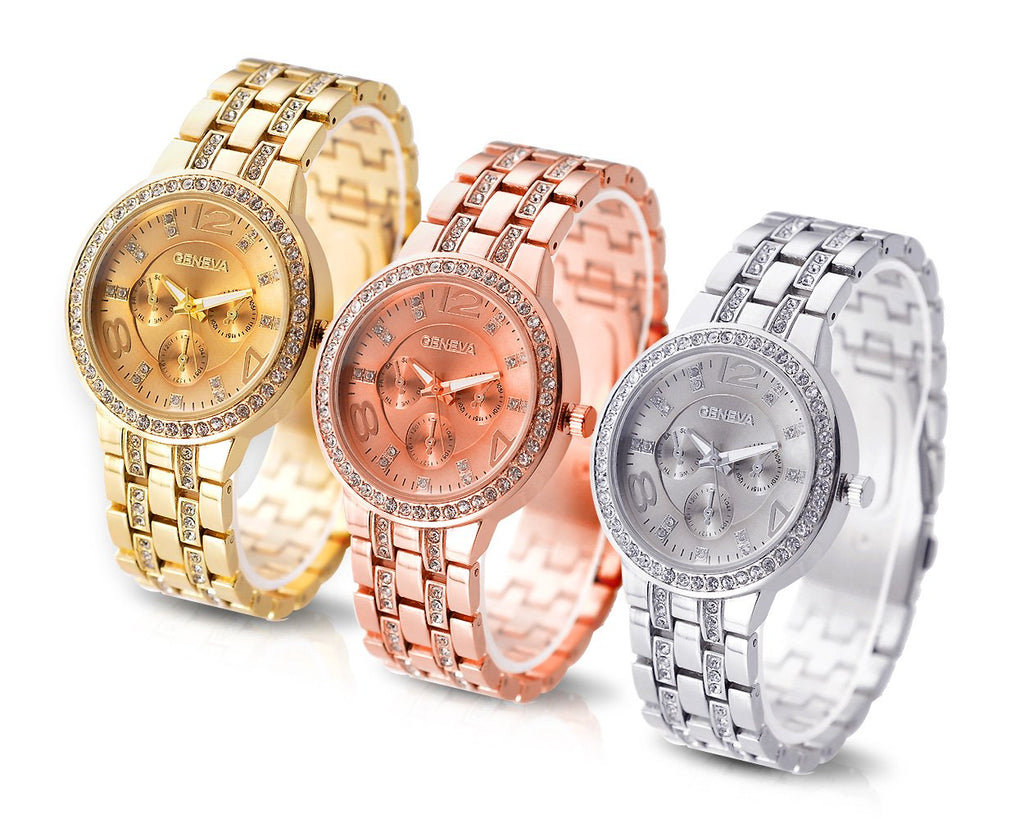 3 Pcs Classic Women Rhinestone Round CZ Quartz Dial Wrist Watches Set
