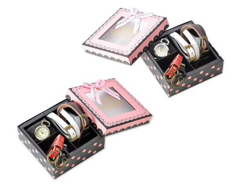 Women's Watch with 4 Interchangeable Leather Bands Gift Set