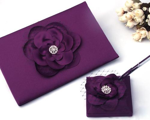 Rose Flower Wedding Reception Guest Book and Pen Set - Purple