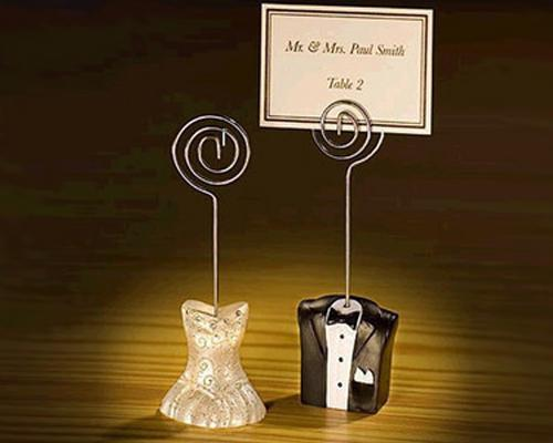 Adorable Bride And Groom Wedding Place Card Holder