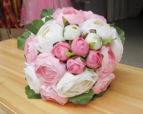 20 Pcs Wedding Silk Flowers Bouquet - White Pink