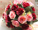 20 Pcs Wedding Rose Flowers Bouquet - Red Pink