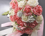 24 Pcs Bridal Wedding Flowers Bouquet - White Pink