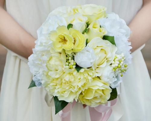 Romantic Silk Flower Wedding Bouquets - White Yellow