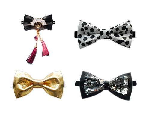 Men Adjustable Wedding Leather Bow Tie
