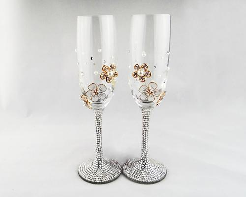 Set of 2 Elegance Flowers Wedding Crystal Champagne Flutes