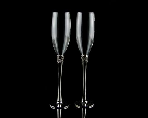 Set of 2 Simple Silver Wedding Crystal Champagne Flutes