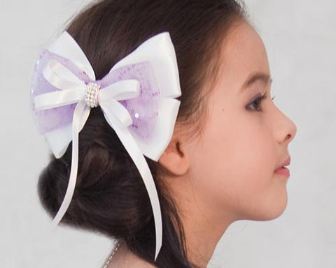 Flower Girl Sequin Silk Ribbon Wedding Hair Clip - Purple And White